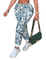 cheap -Women's Casual / Sporty Sweatpants Comfort Jogger Sweatpants Leisure Sports Weekend Pants Graphic Ankle-Length Elastic Waist Print Blue