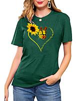 cheap -Women's T shirt Graphic Heart Sunflower Print Round Neck Basic Vintage Tops Regular Fit Blue Blushing Pink Wine