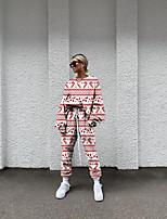 cheap -Women's Basic Streetwear Print Reindeer Christmas Vacation Two Piece Set Tracksuit T shirt Pant Loungewear Jogger Pants Drawstring Print Tops