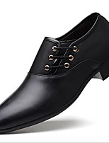 cheap -Men's Loafers & Slip-Ons Lace up Formal Shoes British Style Plaid Shoes Business Casual Classic Party & Evening Office & Career PU Non-slipping Height-increasing Wear Proof Yellow Black Brown Fall