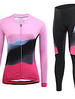 cheap -21Grams Women's Long Sleeve Cycling Jersey with Tights Winter Spandex Rose Red Bike Quick Dry Moisture Wicking Sports Graphic Mountain Bike MTB Road Bike Cycling Clothing Apparel / Stretchy