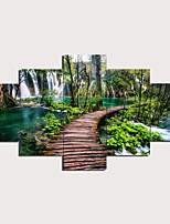 cheap -5 Panels Wall Art Canvas Prints Painting Artwork Picture Waterfall Painting Home Decoration Decor Rolled Canvas No Frame Unframed Unstretched
