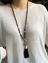 cheap -Beaded Necklace Long Necklace Women's Beads Wood Ethnic Vintage Classic Boho Red Dark Green Black Dark Blue 80 cm Necklace Jewelry 1pc for Street Gift Daily Prom irregular