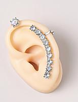 cheap -Women's Ear Cuff Cuban Link Petal Vintage Modern Cute Sweet Earrings Jewelry Silver For Party Gift Daily Prom Club 1pc