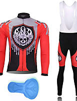 cheap -21Grams Men's Long Sleeve Cycling Jersey with Bib Tights Spandex Polyester Black / Red Skull Funny Bike Clothing Suit 3D Pad Quick Dry Moisture Wicking Breathable Back Pocket Sports Patterned
