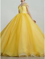 cheap -Ball Gown Luxurious Princess Quinceanera Prom Dress V Neck Short Sleeve Court Train Organza with Sleek Pleats 2021