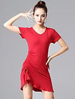 cheap -Latin Dance Ballroom Dance Dress Solid Women's Training Performance Short Sleeve High Modal