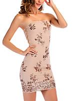 cheap -Women's Sheath Dress Short Mini Dress Black Apricot Sleeveless Print Backless Fall Spring cold shoulder Party Sexy Modern Regular Fit 2021 S M L XL