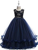 cheap -Kids Little Girls' Dress Solid Colored Flower A Line Dress Party Birthday Pleated Mesh Dusty Blue Red Maxi Sleeveless Princess Cute Dresses Fall Spring Regular Fit 3-10 Years