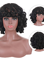 cheap -Short Hair Afro Curly Wig With Bangs Loose Synthetic Cosplay Fluffy Natural Wigs For Black Women Black Brown