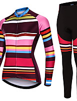 cheap -21Grams Women's Long Sleeve Cycling Jersey with Tights Spandex Polyester Pink Funny Bike Clothing Suit 3D Pad Quick Dry Moisture Wicking Breathable Back Pocket Sports Horizontal Stripes Mountain Bike