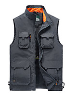 cheap -Men's Vest Gilet Daily Going out Fall Spring Short Coat Single Breasted Stand Collar Loose Breathable Casual Jacket Sleeveless Plain Pocket Blue Gray Khaki