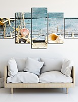 cheap -5 Panels Wall Art Canvas Prints Painting Artwork Picture Landscape Starfish Conch Home Decoration Decor Rolled Canvas No Frame Unframed Unstretched