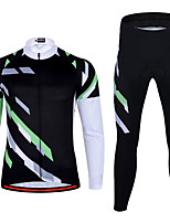 cheap -21Grams Men's Long Sleeve Cycling Jersey with Tights Spandex Black Bike Quick Dry Moisture Wicking Sports Geometric Mountain Bike MTB Road Bike Cycling Clothing Apparel / Stretchy / Athletic