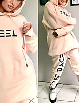 cheap -Women's Sweatsuit 2 Piece Drawstring Hoodie Spandex Letter & Number Sport Athleisure Clothing Suit Long Sleeve Breathable Soft Comfortable Everyday Use Street Casual Daily Outdoor / Winter