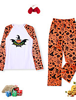 cheap -Women's Pajamas Sets Home Halloween Daily Bed Print Bat Cotton Simple Funny Soft Sweet T shirt Pant Fall Winter Crew Neck Long Sleeve Long Pant Seamed