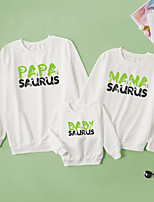 cheap -Tops Family Look Dinosaur Letter Daily Print White Long Sleeve Daily Matching Outfits / Fall / Winter / Cute