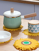 cheap -Nordic Dining Table Potholder Tea Coaster Soft Rubber Placemat Round Bowl Mat Sunflower Vegetable Mat Bowl Mat