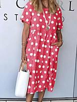 cheap -Women's A Line Dress Midi Dress Light Blue Yellow Red Light Green Short Sleeve Polka Dot Pocket Spring Summer Round Neck Casual Beach 2021 S M L XL XXL XXXL / Cotton