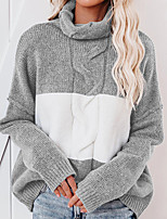 cheap -Women's Sweater Knitted Color Block Stylish Long Sleeve Sweater Cardigans Turtleneck Fall Blue Gray Coffee