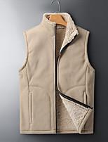 cheap -Men's Gilet Daily Fall Spring Regular Coat Zipper Turndown Regular Fit Warm Breathable Casual Jacket Sleeveless Solid Color Pocket Gray Khaki Green