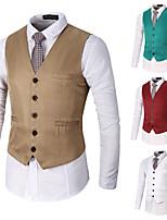 cheap -Men's Vest Gilet Business Daily Spring Summer Short Coat Regular Fit Lightweight Breathable Business Jacket Sleeveless Solid Color Pocket Khaki Green White