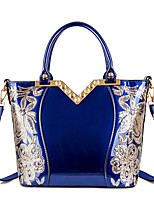 cheap -Women's Bags PU Leather Patent Leather Top Handle Bag Zipper Solid Color Artwork Daily Handbags Blue Gold Black Red