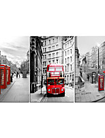 cheap -3 Panels Wall Art Canvas Prints Painting Artwork Picture London Romantic Street Home Decoration Decor Rolled Canvas No Frame Unframed Unstretched