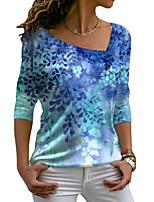 cheap -Women's Floral Theme Painting T shirt Plants Leaf Long Sleeve Print V Neck Basic Tops Blue Purple Green / 3D Print
