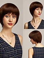 cheap -Rebcass Synthetic Wig kinky Straight Pixie Cut Side Part Cute Cool Easy to Carry With Bangs Wig  Brown Hair  for Women Free Cap