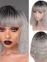 cheap -Synthetic Wig Curly Wavy Bob Neat Bang Wig Short Silver grey Black Synthetic Hair Women's Cosplay Soft Party Black Gray