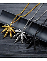 cheap -Charm Necklace Men's Women's Classic Stainless Steel Leaf Simple Trendy Casual / Sporty Cute Cool Silver Gold Black 45+5 cm Necklace Jewelry 1pc for Street School Holiday Prom Festival irregular