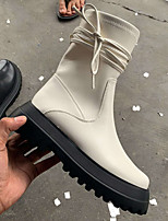 cheap -Women's Boots Block Heel Round Toe PU Lace-up Solid Colored White Black