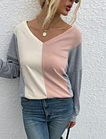 cheap -Women's T shirt Color Block Long Sleeve Patchwork V Neck Basic Tops Gray