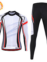 cheap -21Grams Men's Long Sleeve Cycling Jersey with Tights Winter Fleece Spandex White Stripes Bike Quick Dry Moisture Wicking Sports Stripes Mountain Bike MTB Road Bike Cycling Clothing Apparel / Stretchy