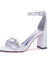 cheap -Women's Wedding Shoes Chunky Heel Open Toe Wedding Satin Rhinestone Crystal Solid Colored Green / Blue Purple Yellow