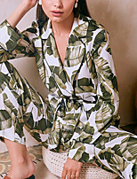 cheap -Women's Pajamas Sets Home Party Daily Bed Print Plant Polyester Satin Fashion Pastoral Soft Shirt Pant Fall Winter Lapel Long Sleeve Long Pant Buckle