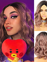 cheap -Glueless Synthetic Wig For Women Short Wave Pink Hair Ombre Tone Dark Pinky Machine Made Heat Resistant Afro Wigs