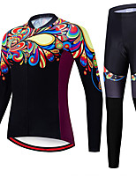 cheap -21Grams Women's Long Sleeve Cycling Jersey with Tights Spandex Polyester Black Paisley Funny Bike Clothing Suit 3D Pad Quick Dry Moisture Wicking Breathable Back Pocket Sports Paisley Mountain Bike