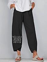 cheap -Women's Folk Style Capri shorts Loose Daily Pants Graphic Letter Ankle-Length Print Grey Black