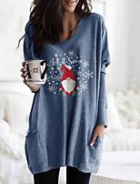 cheap -Women's Shift Dress Short Mini Dress Blue Long Sleeve Print Letter Pocket Print Fall Winter Round Neck Casual Christmas 2021 S M L XL XXL 3XL