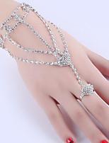 cheap -Women's Ring Bracelet / Slave bracelet Tassel Fringe Heart Fashion Rhinestone Bracelet Jewelry Silver For Christmas Party Wedding Engagement Work / Silver Plated