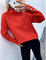 cheap -Women's Sweater Knitted Button Solid Colored Casual Cotton Long Sleeve Loose Sweater Cardigans Turtleneck Winter Grey khaki Green