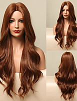 cheap -Synthetic Wig Natural Wave Deep Wave Middle Part Wig 24 inch sepia Synthetic Hair Women's Silky Natural Fashion Ombre Brown