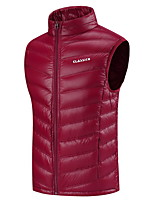 cheap -Men's Hiking Vest Quilted Puffer Vest Down Vest Down Winter Outdoor Thermal Warm Windproof Fleece Lining Lightweight Outerwear Winter Jacket Trench Coat Skiing Fishing Climbing Light Blue Scarlet