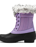 cheap -Women's Boots Snow Boots Flat Heel Round Toe Mid Calf Boots Daily Work Leather Faux Fur Solid Colored Purple Gray White