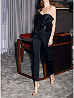 cheap -Jumpsuits Glittering Elegant Wedding Guest Engagement Dress One Shoulder Sleeveless Ankle Length Satin Sequined with Bow(s) Sequin 2021