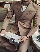 cheap -Men's Wedding Suits 2 pcs Notch Tailored Fit Double Breasted Four-buttons Patch Pocket Solid Colored Cotton