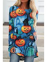 cheap -Women's Halloween 3D Printed Painting T shirt 3D Pumpkin Long Sleeve Print Round Neck Basic Halloween Tops Regular Fit Blue
