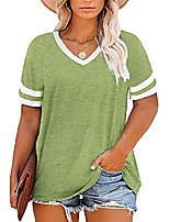 cheap -womens plus size tunic tops summer short sleeve v neck color block t shirts striped tees army green